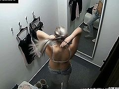 Here�s spying the changing rooms! We have two security cameras hidden in cabins of an underwear shop. Beautiful Czech girls fitting on bras, panties and sexy lingerie without even the slightest idea they are being watched. Now you can finally see what girls do in the changing room!