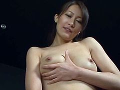 Hot Japanese babe with pretty face takes her nightie off and fondles her vagina. After that she starts to suck a cock.