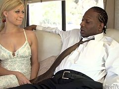 Filthy blond slut pleases a rapacious black fucker in luxurious boat. He takes off her camisole in order to oral stroke gently her cuddly tits before she inclines to mouth fuck his oversized penis in steamy interracial sex video by Fame Digital.