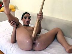 Dark-haired hottie Amber Rayne is having some fun alone. She demonstrates her cute holes, fucks them with a toy and then pleases herself with fisting.