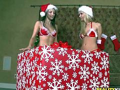 Celeste Star, Sammie Rhodes, Sophia Santi are three sweet lesbian girls in sexy red and white Christmas outfit. Petite girls touch each others perky asses and tits with enthusiasm.