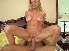 She is steamy blonde mom with fine and fit body shape. She shows off her awesome bj skills. Then she tops the stick bouncing her skinny white ass on a strong cock. She also rubs her clitoris to double the pleasure. Awesome clip made by Naughty America.