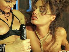Kathia Nobili is one beautiful blond-haired lesbain woman with sexy titties and neatpussy. She shows it all as she fucks lovely Sophie Lynx with no mercy with her strap-on dildo.