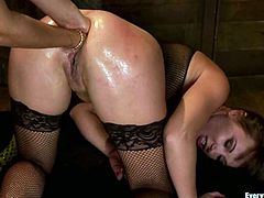Alysa gets her ass toyed and fisted with two hands by Isis Love. After that she gets fucked hard and deep by a guy.