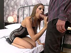Frivolous female with short black dress Avril Sun gets seduced by the marvelous pussy-strangler Ian Scott. His skin snake is going inside small mouth and tight throat.