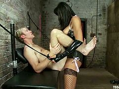 Ned Mayhem is having fun with lustful shemale Yasmin Lee in a basement. He lets the ladyboy tie him up and enjoys having her schlong in his butt.