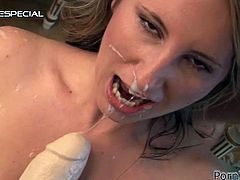This blonde in lingerie is going to play with a hard cock and a huge dildo in this video that ends with her face cum covered.