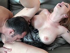 Naughty beauty enjoys sucking huge cock before having it in her warm cunt