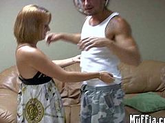 Blonde in dress lifts up her dress and shows her tail before she gets down on her knees to give blowjob. Then she strips naked and gets her vagina boned on the sofa. Watch her get hard fucked.