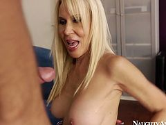 Impressively voracious and whorish blondie with nice boobs comes to the couch, where sleepy dude is. This torrid nympho has a strong desire to provide his lollicock with a stout blowjob for sperm. Check her out in Naughty America clip and be impressed and pleased at once.