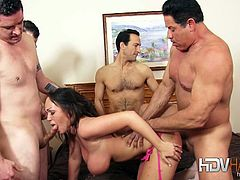 Homemade gang bang with naughty brunette