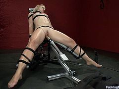 Watch this horny blonde squirting nonstop as she's fucked by machines as you get one hello of a boner while hearing her moan.
