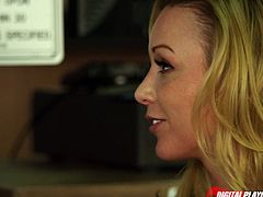 Watch the naughty blonde belle Kayden Kross flaunting her hot tits while giving her man a hell of a blowjob. Then she's ready to ride her man's dong balls deep into a breathtaking orgasm.