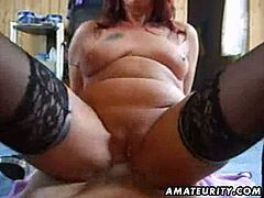 She is a chubby redheaded mature ready to bounce on the cock like crazy! She is wearing her sexy stocking and got her pussy creampied!