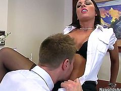 Busty J Love knows that in order to keep her job she needs to push out her round ass and let her boss fuck her like there is no tomorrow while her tits are bouncing.