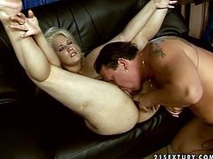 Pretty mature blonde Enny pleases some dude with a nice blowjob. Then she sits down on his dick and they bang in cowgirl position.