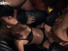 This girl is a hot mistress she dominates two submissive guys and then sucks their dicks. Then she also gets fucked in her vagina.