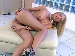 Sophie Moone is one beautiful blond-haired babe in high heels that touches her lovely perky tits and rubs her snatch with her fingers just like crazy in sexy solo scene. Watch Sophie Moone play.