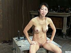 Salacious Asian chick Tia Ling gets put into fetters in a basement. Some dude stuffs her cunt with a vibrator and loves the way she moans while the toy moves back and forth inside the slut's depths.