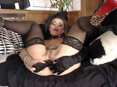 Dark haired girl Michell in black stockings fucks her vagina with dildo before she takes real cock. Small titty kinky girl gives deep blowjob and gets her asshole licked by her horny fuck buddy.
