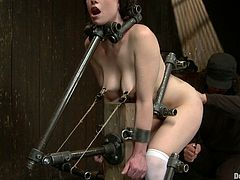 Naughty girl gets her ass and pussy toyed at the same time. After that she gets her body clothespinned and covered with hot wax.
