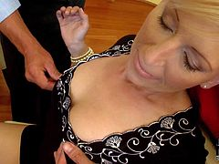 Blonde gets used by her husband's friends