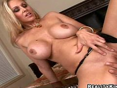 Smoking hot blonde milf Julia Ann with gigantic firm melons and long legs in black undies gets shaved cunny licked by Ramon Nomar and gives him memorable titjob in close up