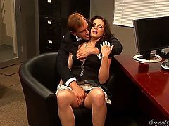 In order to get a new raise, Samantha Ryan needs to show some love to her boss who is more than ready to take off her dress and bang her really hard.