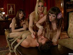Who is having the fun here? Is it the 3 crazy divine bitches using this guy like their toy? Or is it the poor male sex slave tied up on the table.