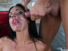 Busty brunette likes to swallow and have her face filled with jizz