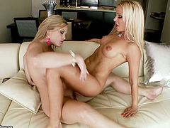 Blonde hotties Alexis Texas and Sandy are having some fun in the bedroom. They pet each other and show their pussy-licking skills afterwards.