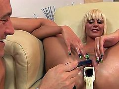 Enjoy luxurious and provocative blonde slut White Angel playing wild games