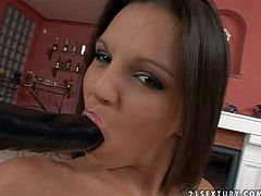 Juicy brunette Eve Angel with nice bottom fillers her fuck hole with four fingers before she takes long black dildo. Watch passionate dark haired babe fuck her juicy hole like crazy in solo scene.