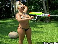 Provocative and playful cheep blonde and brunette hookers Leila and Michele with bouncing asses enjoys playing with their huge juicy gazongas in backyard while dirty dude films them in point of view
