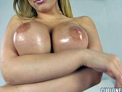 Bibi Noel is one perfect bodied girl with long hair, perfect round ass and huge fake tits. She strips down to her bare skin and shows off her killer assets. She plays with her big melons, exposes her butt and spreads her legs to show her shaved snatch.