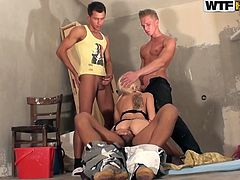 Steamy Russian blondie rides a hard cock in cowgirl style wearing black lingerie while her mouth is busy giving a head to two kinky rods in sizzling hot 4some sex clip by WTF Pass.