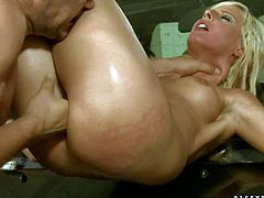 Naked tight blonde White Angel with small tits and shaved snatch gets tied to car to be tortured and fucked. She gets her pussy filled with hard dick after water torture. Crazy fun!