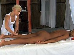 This lesbian masseuse loves her job because she always have hot clients. She licks and fingers their pussies after giving a massage.