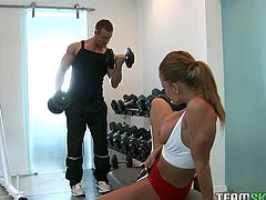Watch Nikki Delano looking for a big cock in the gym. This busty babe is about to get her snatch jack hammered by this guy's meaty cock!