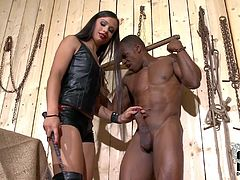 Black slave guy gets his cock sucked by hot blooded white mistress. Then obedient naked slave girl gives interracial blowjob too and then bends over to get her perky bare ass slapped.