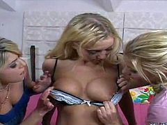 Nasty young blonde lezzies Nikki and Heather with tight asses and natural hooters in slutty outfits have lusty wet threesome with their nasty roommate in bedroom on a lazy afternoon