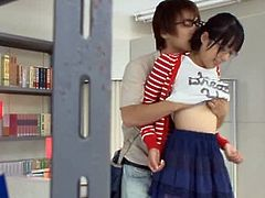 Hot Japanese teen in glasses lifts her skirt up and gets her vagina licked. After that she gets fucked nice and deep in different poses.