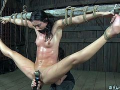 Wenona has her big beaver whipped as she's ties up and huge from the ceiling in stocks. She tries to scream but her muffled cries for help are useless. She has red marks all over her pussy from the beating. Look as her nipples get pinched and pulled.