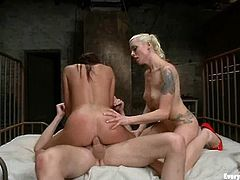 Stunning Mia Lelani gets her ass and pussy toyed by Lorelei Lee. After that Mia gets fucked rough by horny guy.