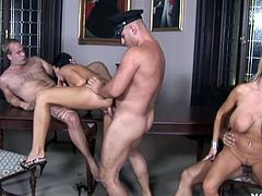 Dirty babes are having hardcore action along hunks in nasty group hardcore