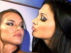 Suzie Carina and Aletta Ocean have a nice lesbian toying scene before Aletta switches to real cock and Suzie watches her sucking it.