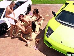 Rachel Starr, Madison Ivy, Monique Alexander, Kirsten Price are perfect bodied car wash babes that get naked and enjoy the orgy in the sun. They lick each others snatches and then share a cock.