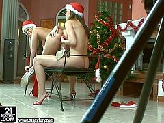 Turned on young blonde and brunette lezzies with long legs and slim sexy bodies in provocative Christmas lingerie get nasty and pleasure each other with red vibrator at photo shoot