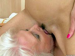 Betty Stylle is a cute sweet brunette that has unforgettable sex with mature blonde Judi. Aged woman parts her legs and gets her pussy munched by enthusiastic dark haired girl. Watch old and young lesbians have fun.