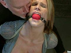 Winning blonde Aiden Aspen gets bound by Mark Davis. The man punishes the cutie and then destroys her sweet pussy doggy style.